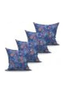 Conjunto De Capas Para Almofada Com 4 Peças Vicenza Azul Marinho 60X60 Cm