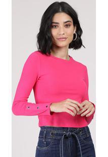 Blusa Feminina Cropped Canelada Com Botões Manga Longa Decote Redondo Pink