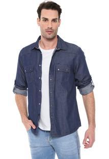Camisa Jeans Dixie Reta Bolsos Azul