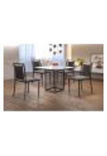 Conjunto De Mesa De Jantar Hera Com Tampo De Vidro Siena E 4 Cadeiras Grécia I Linho Cinza E Café