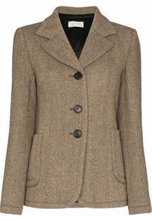 Wales Bonner Blazer De Tweed Com Abotoamento Simples - Cinza