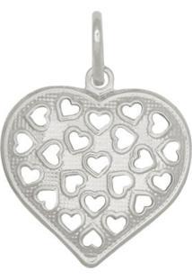 Pingente Prata Mil Coração Vazado Prata
