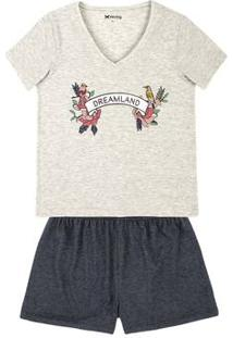 Pijama Feminino Em Malha De Algodão Com Estampa Localizada E Decote V