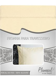 Fronha-Percal 233 Fios-Bege-Ponto Palito-50X150