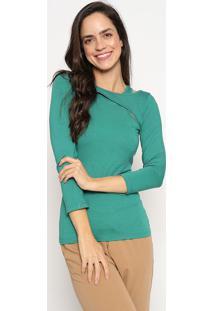Blusa Lisa Com Recortes- Verde Claro- Sommersommer