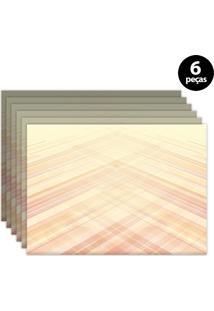 Jogo Americano Mdecore Abstrato 40X28Cm Laranja 6Pçs