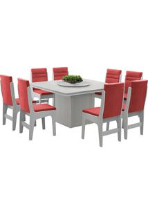 Conjunto De Mesa Para Sala De Jantar Com 8 Cadeiras - Amsterdam - Dobuê - Branco / Marsala