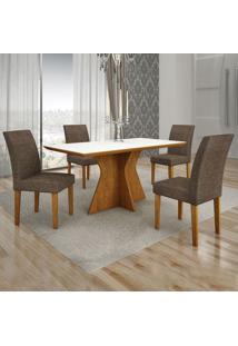 Conjunto De Mesa De Jantar Creta Ii Com 4 Cadeiras Olímpia Linho Branco E Marrom