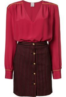 Pinko Vestido Com Contraste - Vermelho