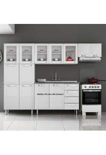 Cozinha De Aço Compacta Em L 11 Portas 5 De Vidro Itanew Branco - Itatiaia