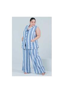 Calça Pantalona Almaria Plus Size Miss Taylor Listrada Azul