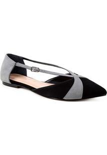 Sapatilha Couro Shoestock Bico Fino Tiras Bicolor Feminina - Feminino-Preto+Cinza