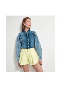 Camisa Manga Longa Bufante Em Jeans | Blue Steel | Azul | M