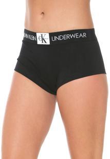 Calcinha Calvin Klein Underwear Boxer Monogram Preta