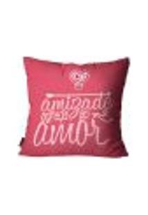 Capa Para Almofada Premium Cetim Mdecore Frase Pink 45X45Cm