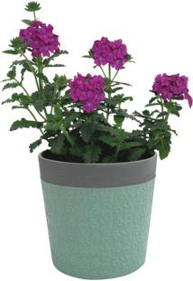 Cachepot Urban Home De Cerâmica Verde Com Borda Little Flowers N