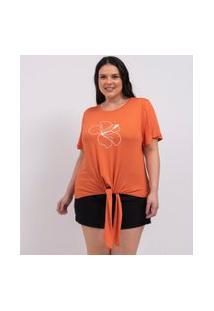 Blusa Com Bordado De Flor E Amarração Curve & Plus Size | Ashua Curve E Plus Size | Laranja | Eg