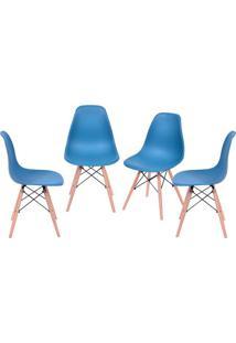Jogo De Cadeiras Eames Dkr- Azul Petrã³Leo & Bege- 4Por Design