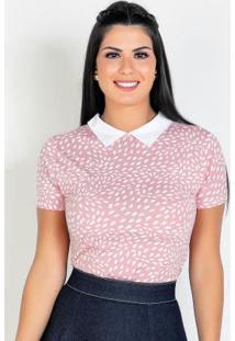 Blusa Com Gola Manchas Rosa Moda Evangélica