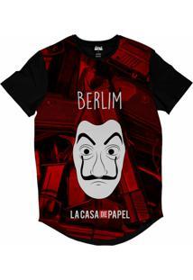 Camiseta Longline Attack Life La Casa De Papel Berlim Sublimada Vermelho