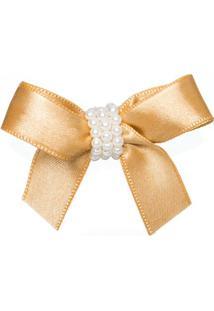 Presilha Laço Cetim Pérolas Dourada - Roana 4282-M Presilha Laço Cetim Dourado Pérolas