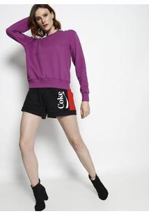 """Blusã£O """"Fearless Girl"""" Em Moletom - Roxo & Preto - Ccoca-Cola"""