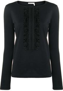 See By Chloé Slim-Fit Ruffle Detail Blouse - Preto
