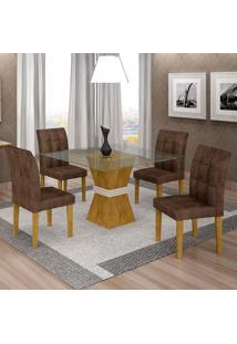 Conjunto De Mesa De Jantar Com 4 Cadeiras Vitória Veludo Ypê E Marrom
