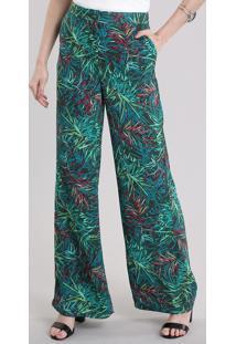 Calça Pantalona Estampada De Folhagem Verde Escuro