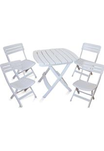 Conjunto Mesa E 4 Cadeiras Dobrável Ripada Plástico Antares