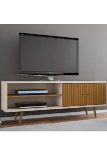 Rack Para Tv Até 60 Polegadas 2 Portas Onix Cinamomo/Off White/Ripado - Móveis Bechara