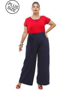Calça Melinde Plus Size Pantalona Marinho