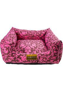 Cama Quadrada Arabesco- Rosa & Marrom Escuro- 20X50X4 Patas
