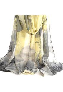 Lenço De Chiffon Artestore Estampado Aquarelado Grande, Echarpe. Xale, Tons De Cinza E Amarelo