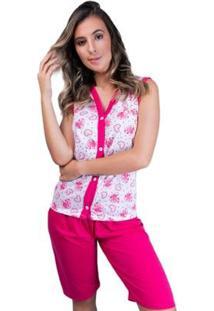 Pijama Pescador Aberto Botões Adulto Curto Feminino - Feminino-Rosa
