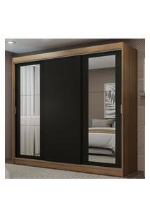 Guarda-Roupa Casal Madesa Kansas 3 Portas De Correr Com Espelhos 3 Gavetas Rustic/Preto Cor:Rustic/Preto