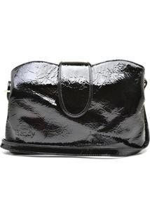 Bolsa De Couro Hendy Bag Verniz Com 3 Repartições Alça Transversal Feminina - Feminino-Preto