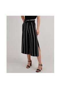 Calça Feminina Pantacourt Listrada Com Fenda E Cinto Preto