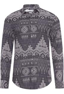 Camisa Masculina Etnic Gray - Cinza E Preto