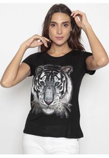 Blusa Tigre Com Bordado Em Paetê- Bege & Preta- Cavacavalari