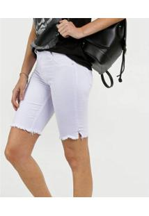 Bermuda Feminina Jeans Barra Desfiada Biotipo - Feminino-Branco