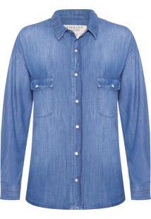 Camisa Feminina Oversized - Azul