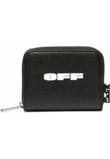Off-White Porta-Moedas Pequeno Com Estampa De Logo E Zíper - Preto