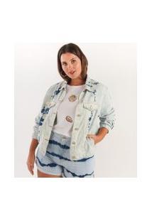 Jaqueta Jeans Bomber Tie Dye Curve & Plus Size | Ashua Curve E Plus Size | Azul | G
