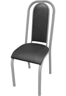Cadeira Roma Almofadada Branco/Tick Listras Açomix