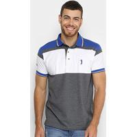 51ca25b0a2 Camisa Polo Aleatory Listrada Masculina - Masculino-Azul+Branco