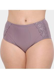 Calcinha Marcyn Plus Size Cinta Renda - Feminino-Violeta