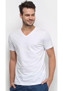 Camiseta Forum Gola V Masculina - Masculino-Branco