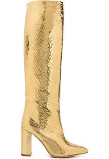Paris Texas Bota No Joelho Metalizada - Dourado