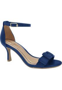 Sandália Tradicional Com Laço - Azul Escuro - Salto:Ramarim